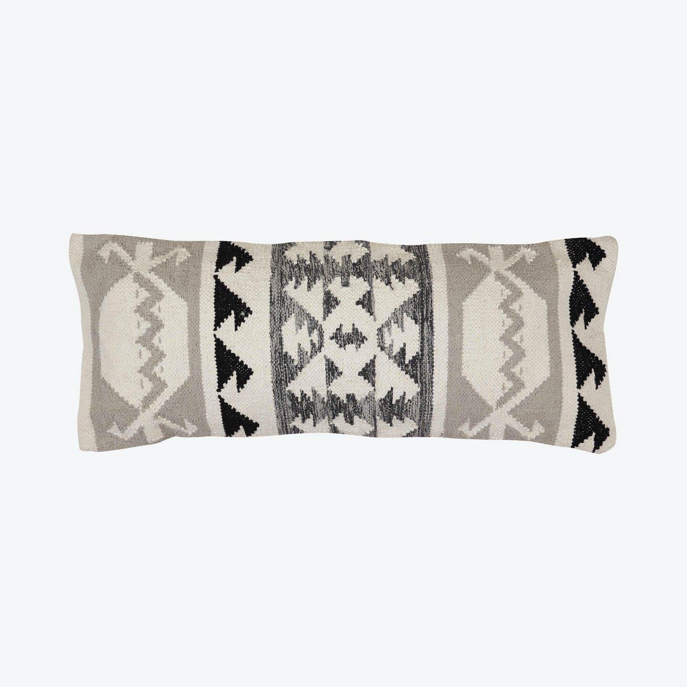 Tulum Kilim Lumbar Pillow Cover Black