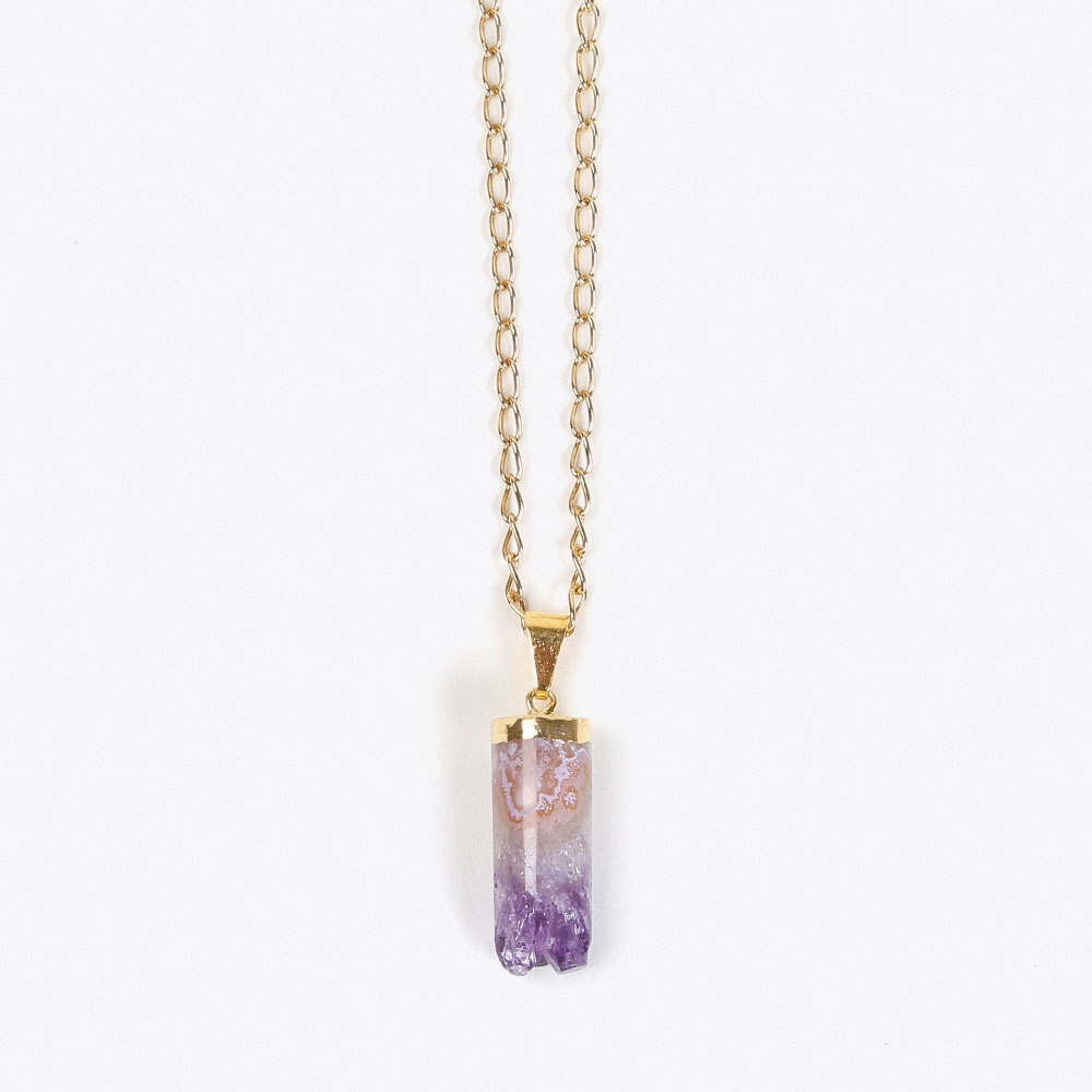 Little Spike Amethyst Necklace in Gold