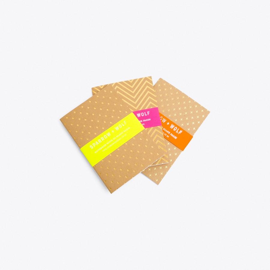 Set of 3 Gold Shapes Notebooks