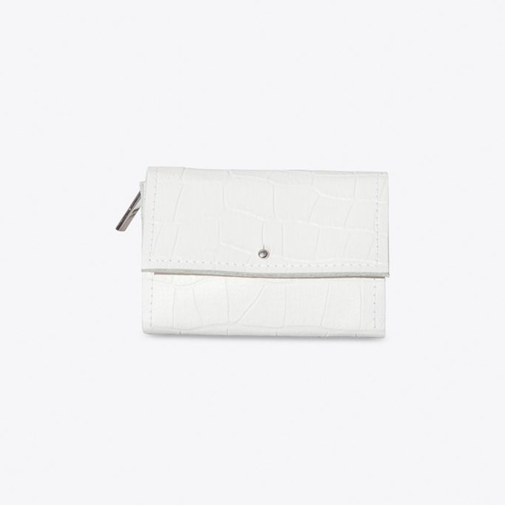The Mini Wallet in White Croc