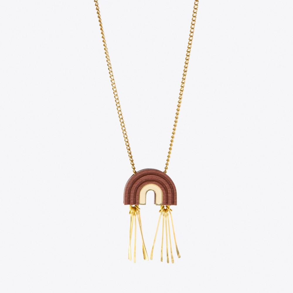 Mini Tassel Arch Necklace Dusky Rose