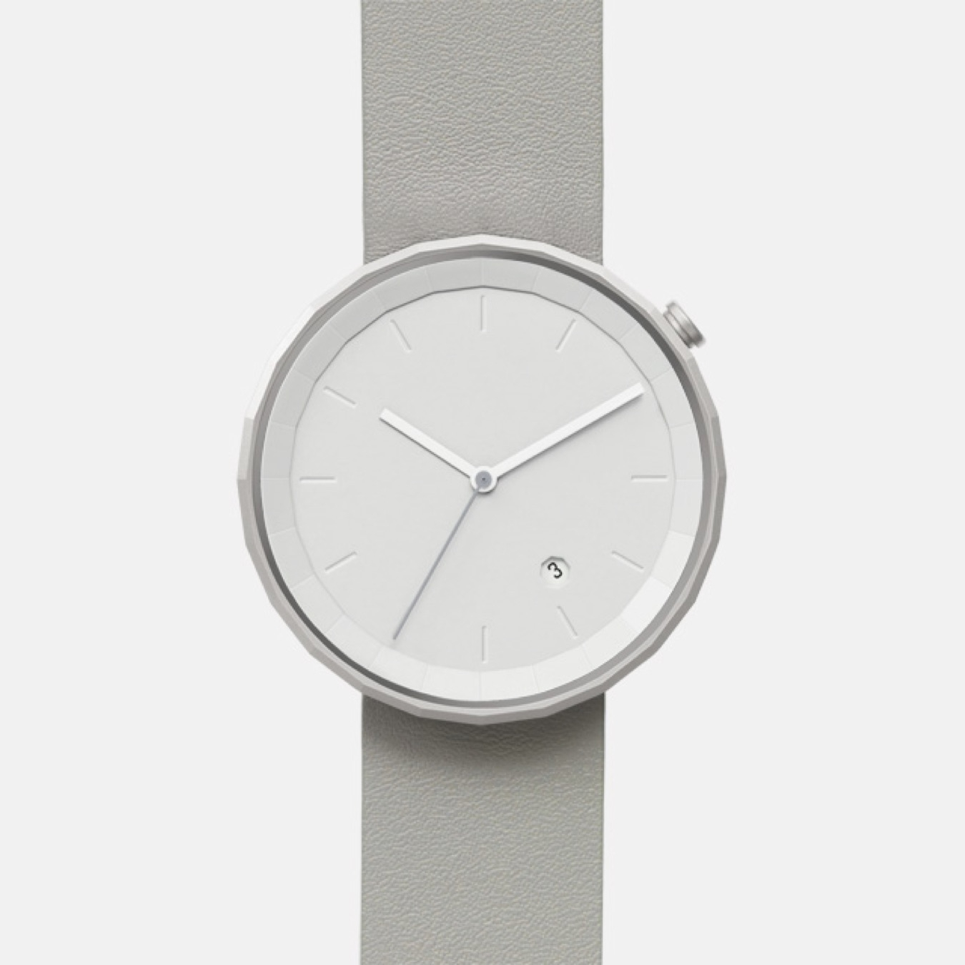 Polygon Watch 01 in Silver with Black Strap