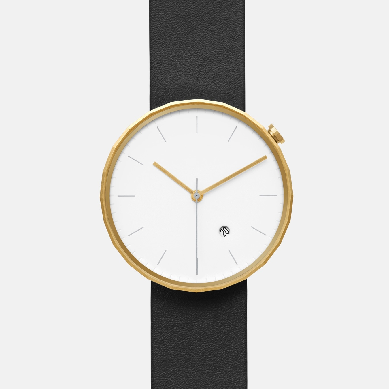 Polygon Watch 02 in Gold with Black Strap