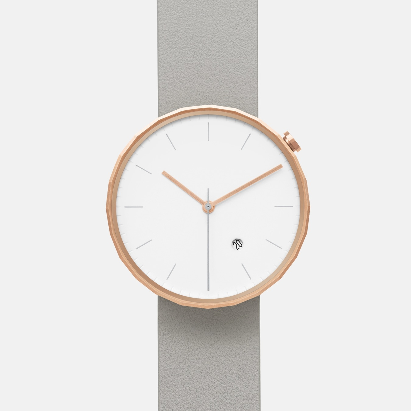 Polygon Watch 02 in Rose Gold with Grey Strap