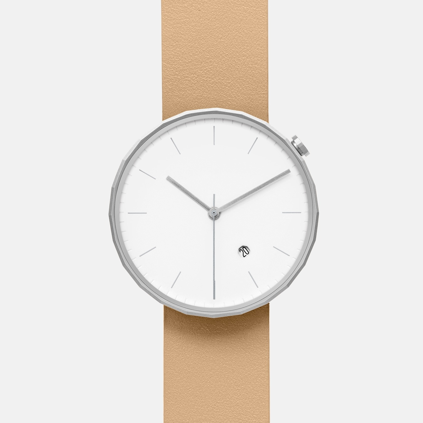 Polygon Watch 02 in Silver with Biege Strap