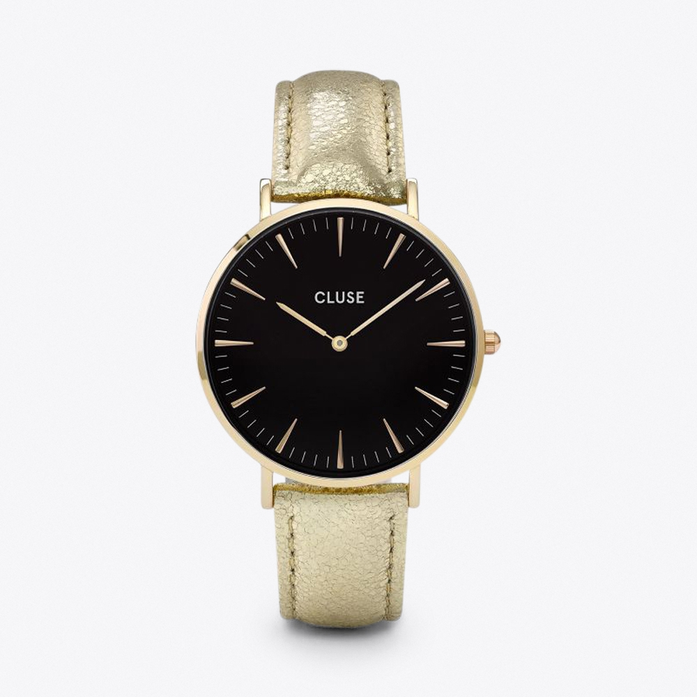 la bohème watch in gold black & gold metallic