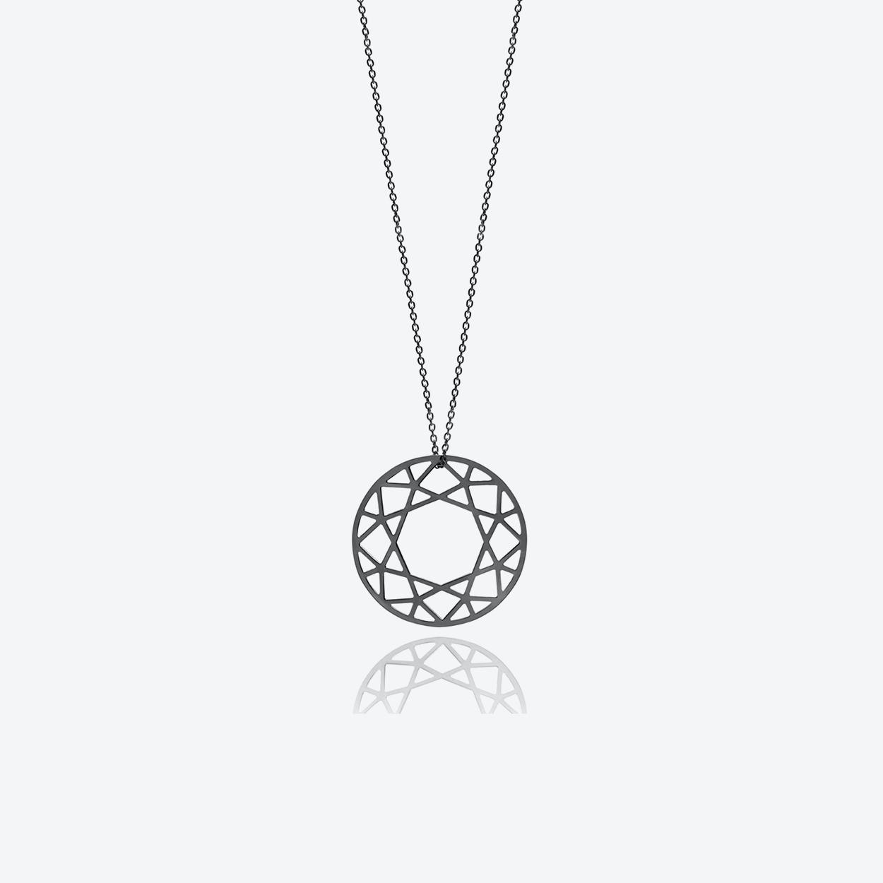 Large Brilliant Diamond Necklace in Black