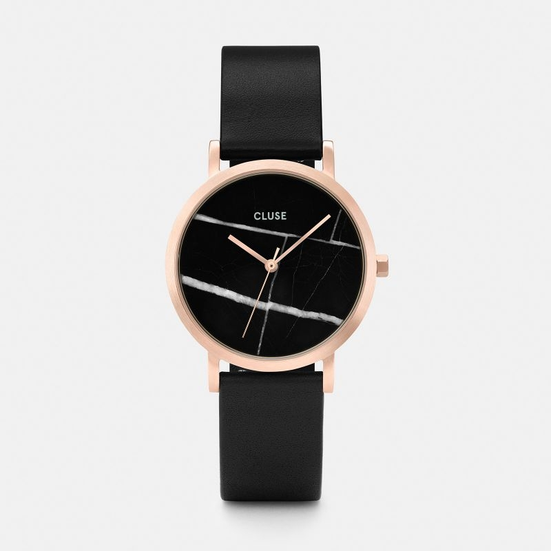 La Roche Petite Watch in Rose Gold, Black Marble and Black Strap