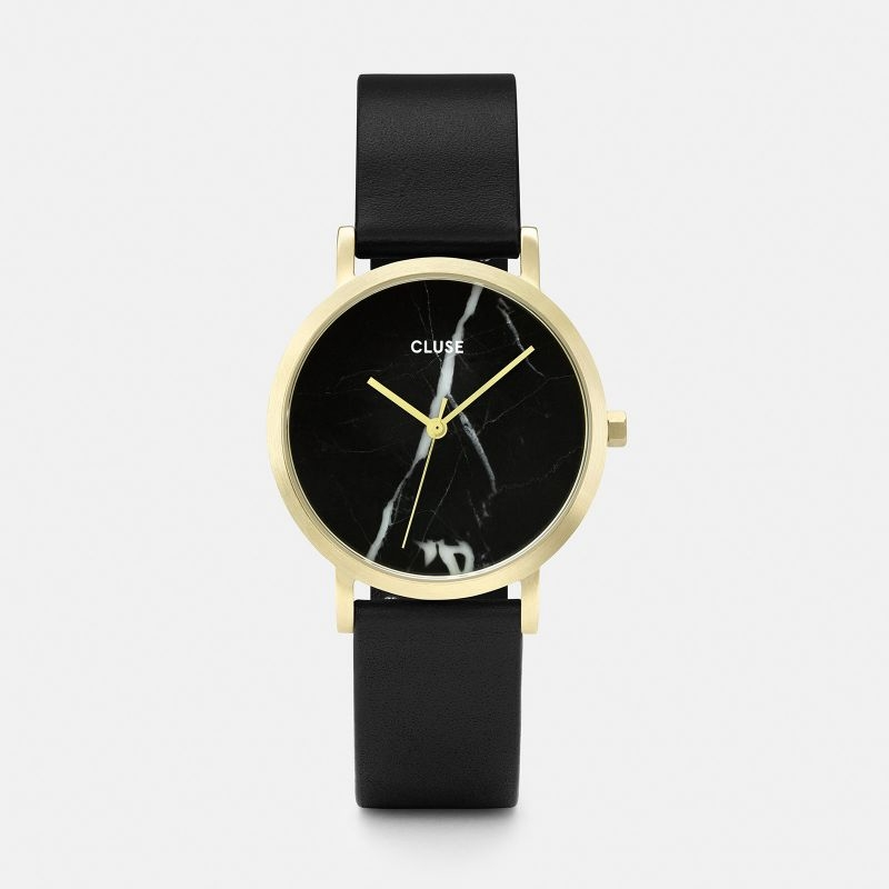 La Roche Petite Watch in Gold, Black Marble and Black Strap