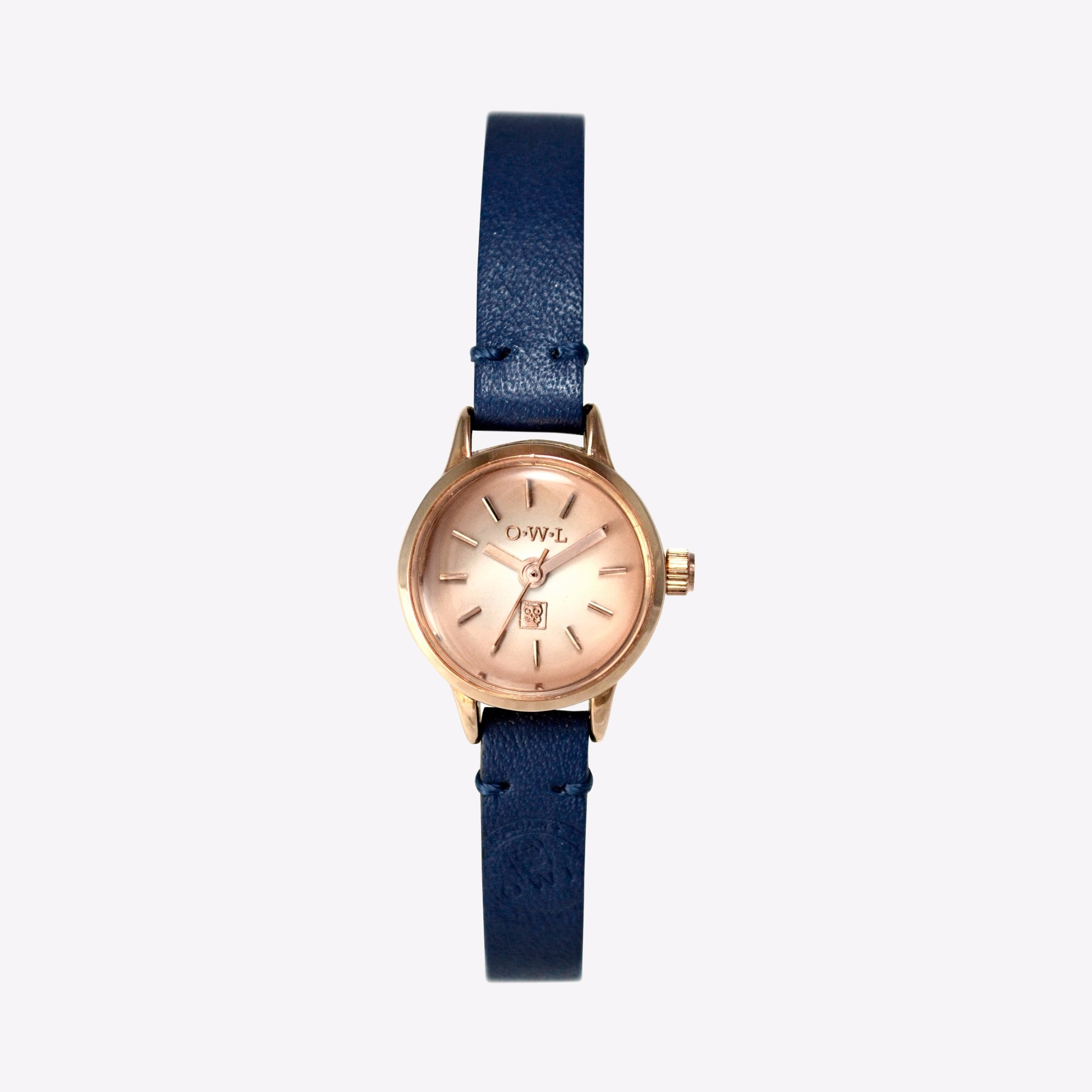 conwy watch in rose gold & navy