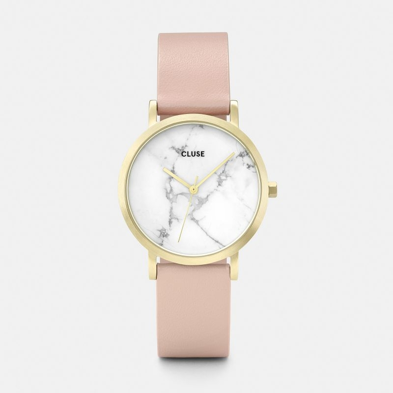 La Roche Petite Watch in Gold, White Marble and Nude Strap