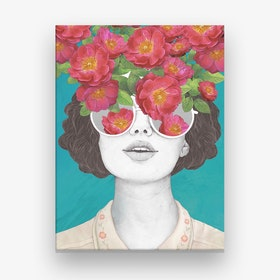The Optimist Rose Tinted Glasses Canvas Print