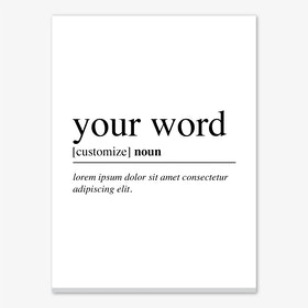 Your Word Definition Personalised Canvas Print