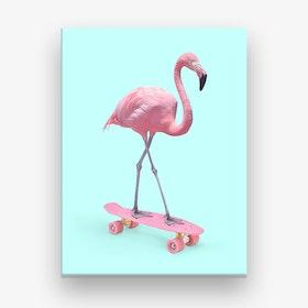 Skate Flamingo Canvas Art Print