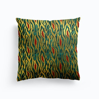 Zebra Print In Red Gold And Green Cushion