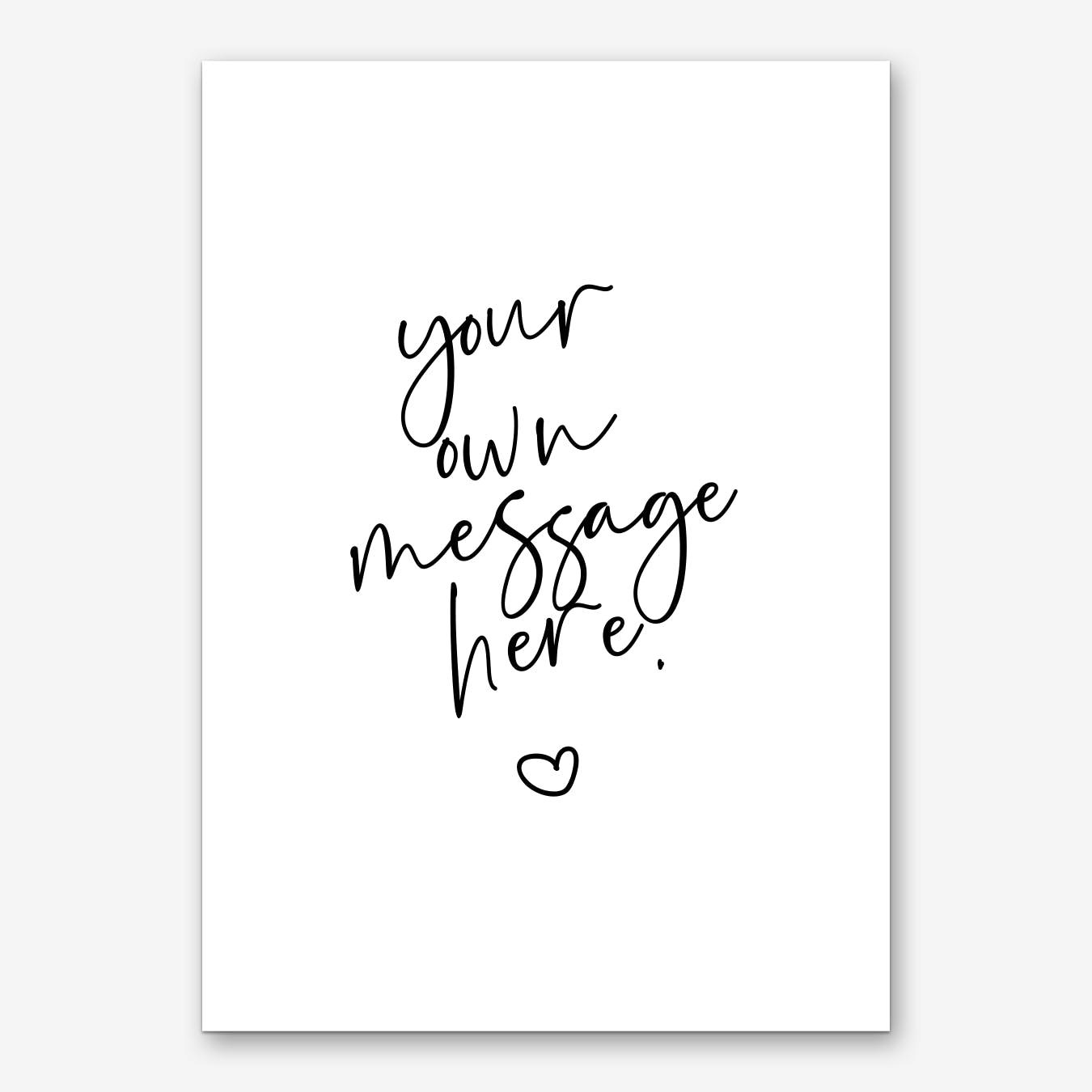 Script Font Heart in Colors Personalised Art Print