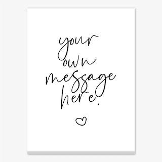 Script Font Heart Personalised Canvas Print
