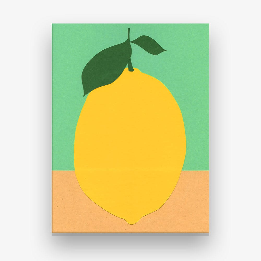 Lemon With Two Leaves Canvas Print