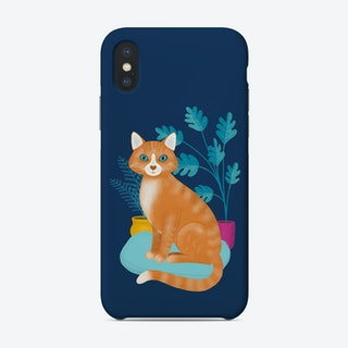 Ginger Tabby Cat With Plants Phone Case