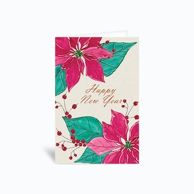 Happy New Year Poinsettia Greetings Card