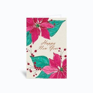 Happy New Year Poinsettia Greetings Card