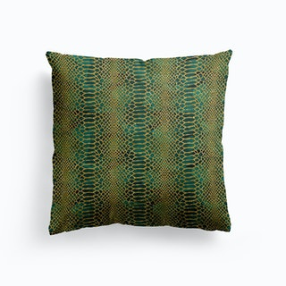 Faux Croc Print In Gold And Bottle Green Cushion