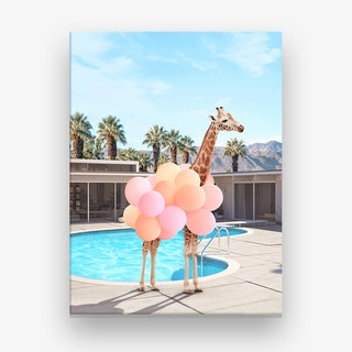 Giraffe Palm Springs Canvas Print