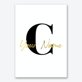 Name Alphabet in Gold Personalised Art Print