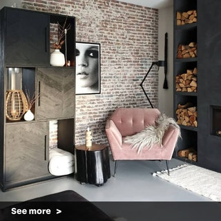 Dark Shelves and Brick Wall