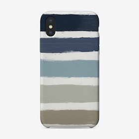Blue & Taupe Stripes  Phone Case